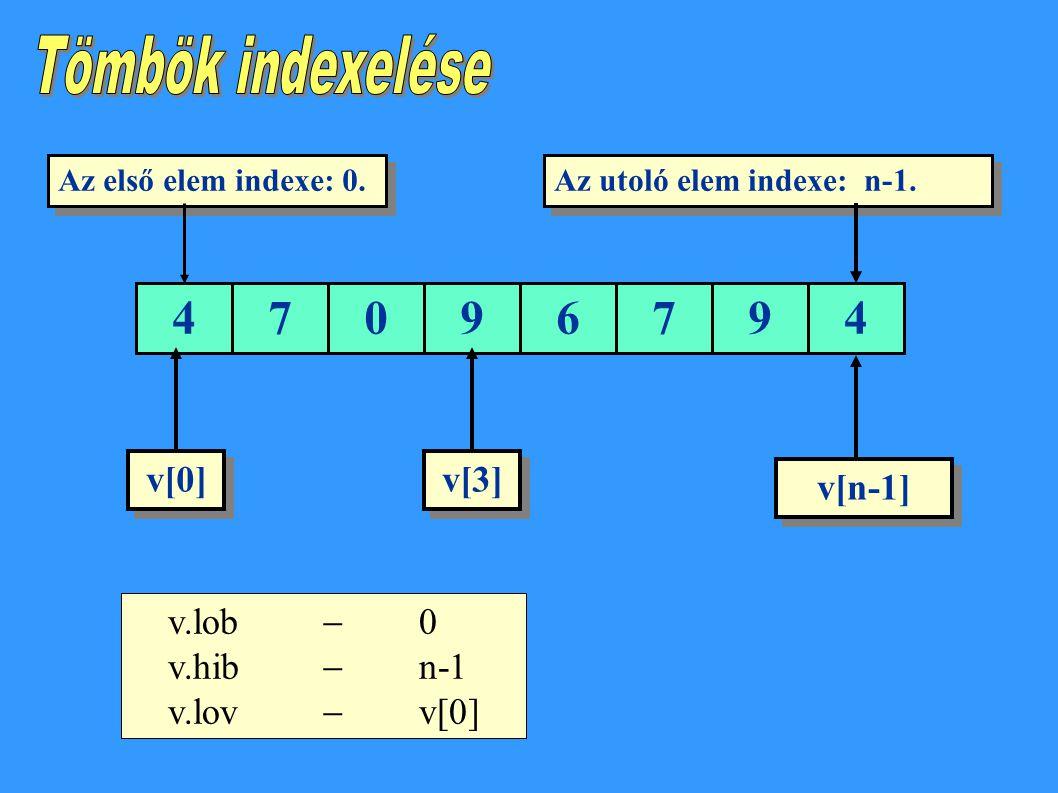 Tömbök indexelése 4 7 9 6 v[0] v[3] v[n-1] v.lob  0 v.hib  n-1